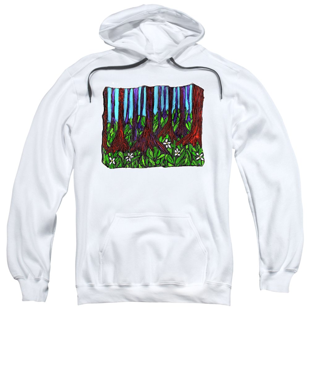Trees Sweatshirt featuring the painting Edge Of The Swamp by Wayne Potrafka