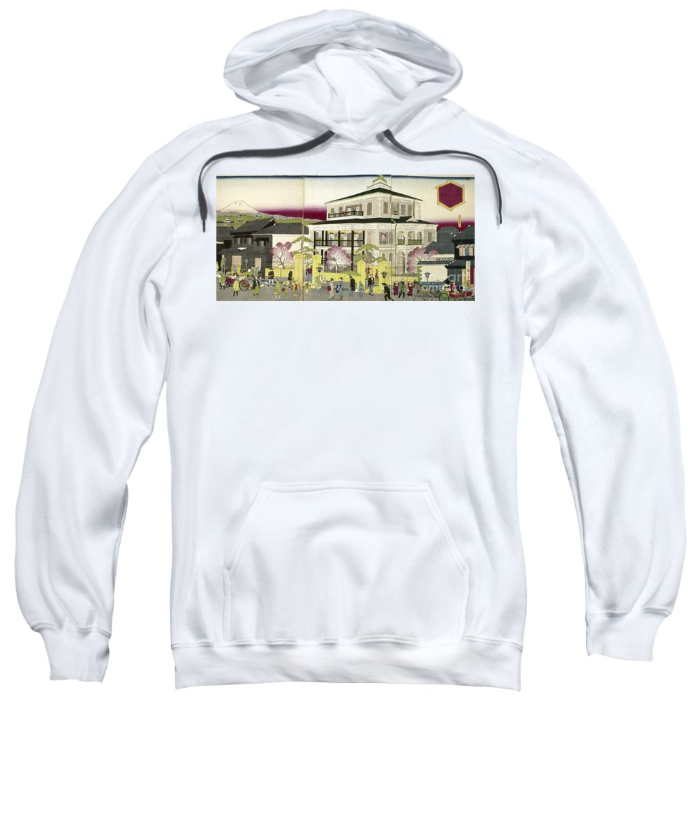 1873 Sweatshirt featuring the photograph Edo: Bank, C1873 by Granger