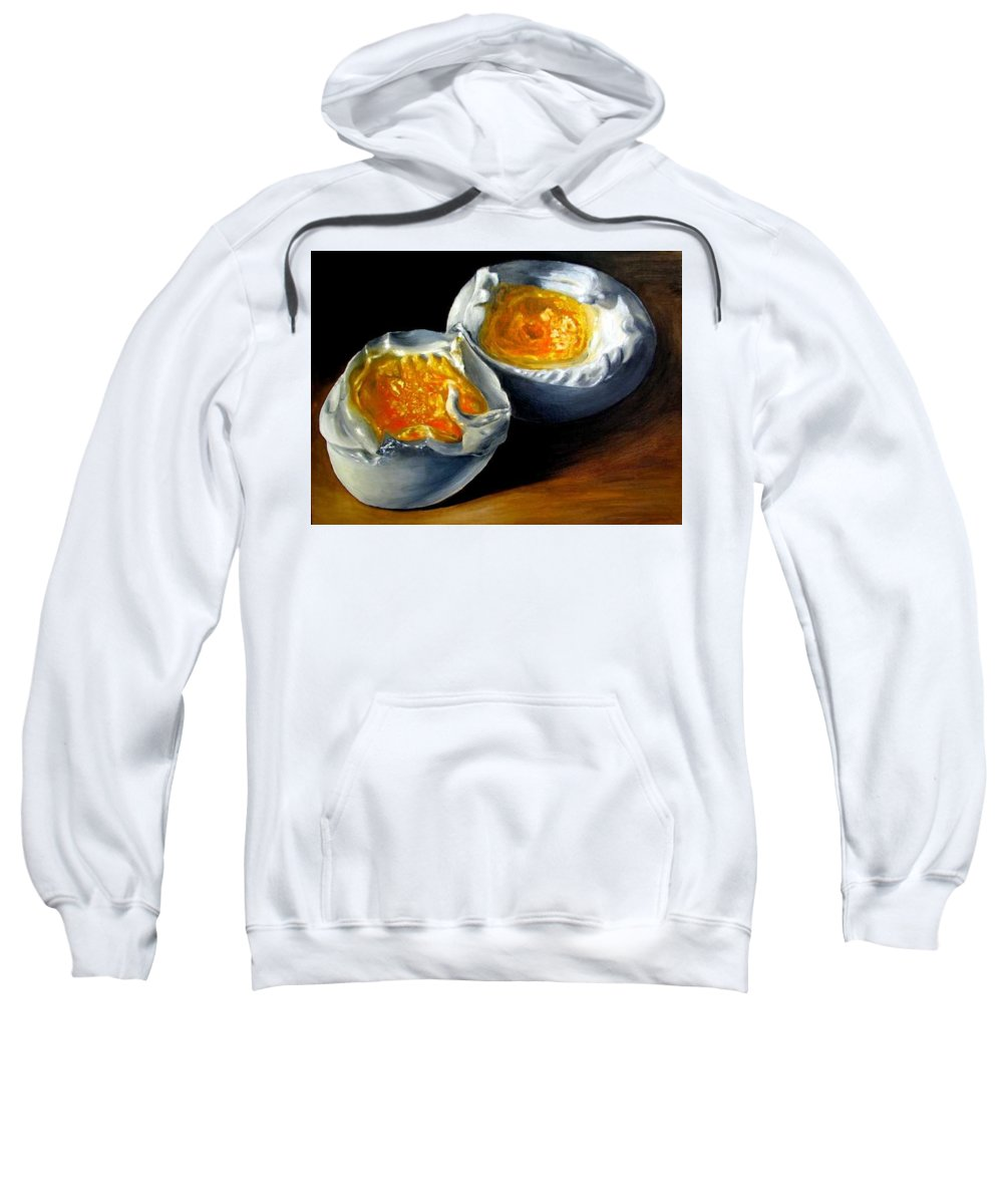 Eggs Sweatshirt featuring the painting Eggs Contemporary Oil Painting On Canvas by Natalja Picugina