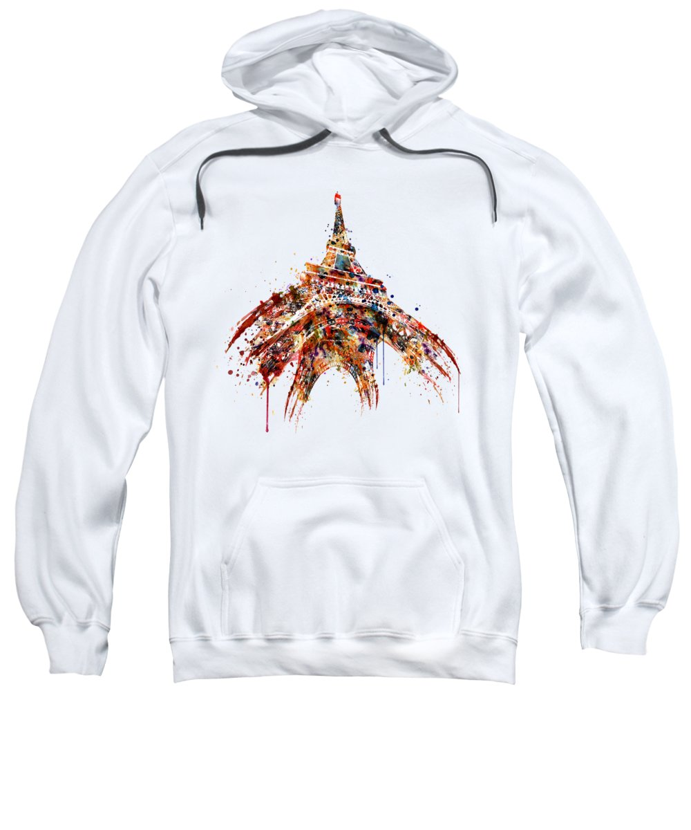 Tour Eiffel Sweatshirt featuring the painting Eiffel Tower Watercolor by Marian Voicu