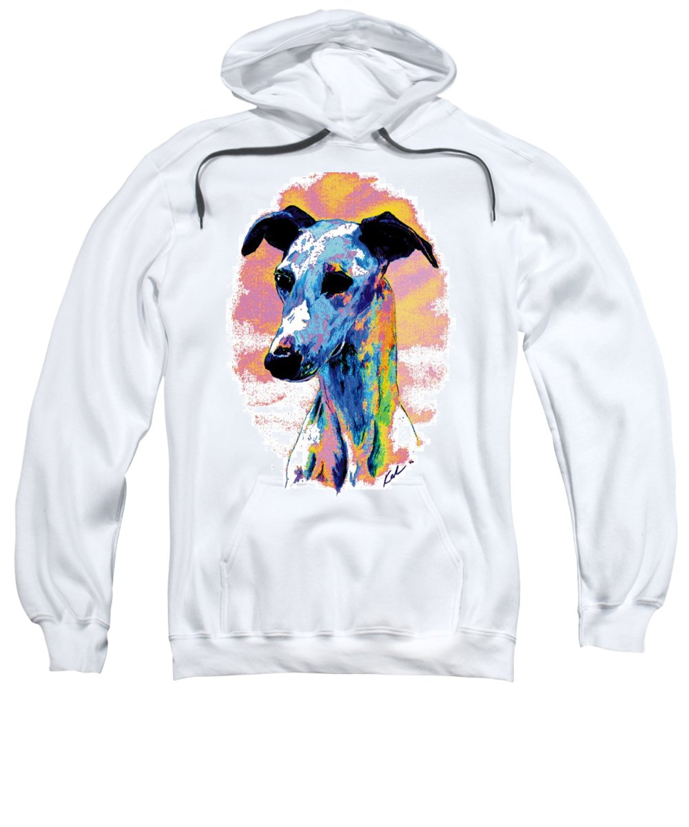 Electric Whippet Sweatshirt featuring the digital art Electric Whippet by Kathleen Sepulveda