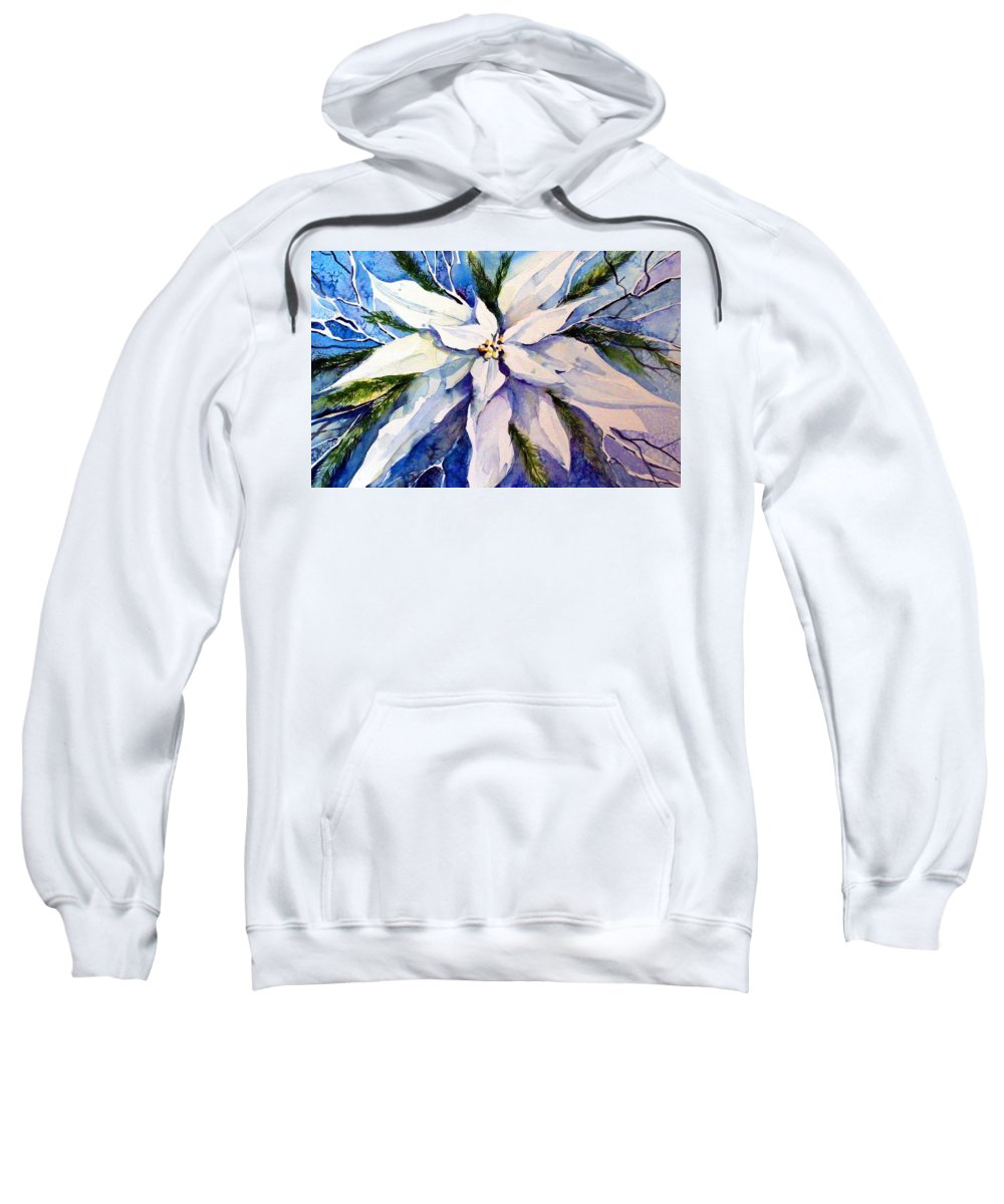 Christmas Sweatshirt featuring the painting Elegant White Christmas by Mindy Newman