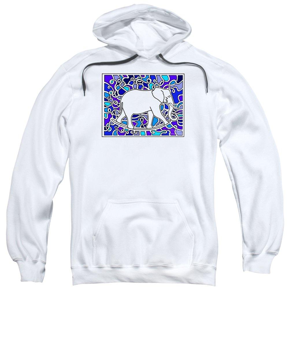 Elephants Sweatshirt featuring the drawing Elephant Rocker Blue Magoo by Peter Paul Lividini