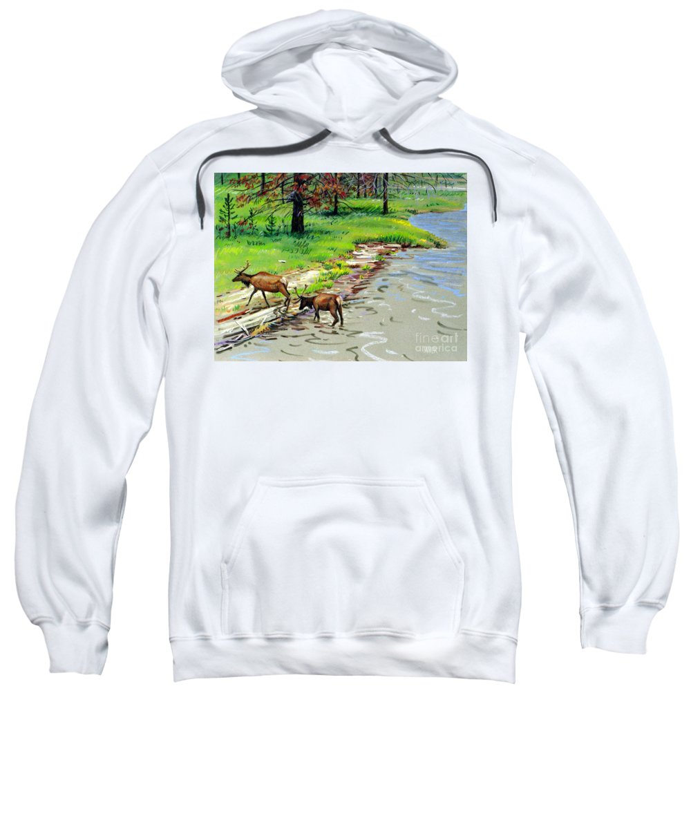 Elks Sweatshirt featuring the painting Elks Crossing by Donald Maier
