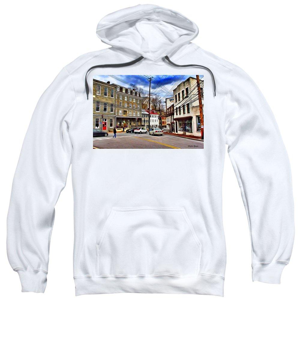 Ellicott Sweatshirt featuring the digital art Ellicott City Streets by Stephen Younts