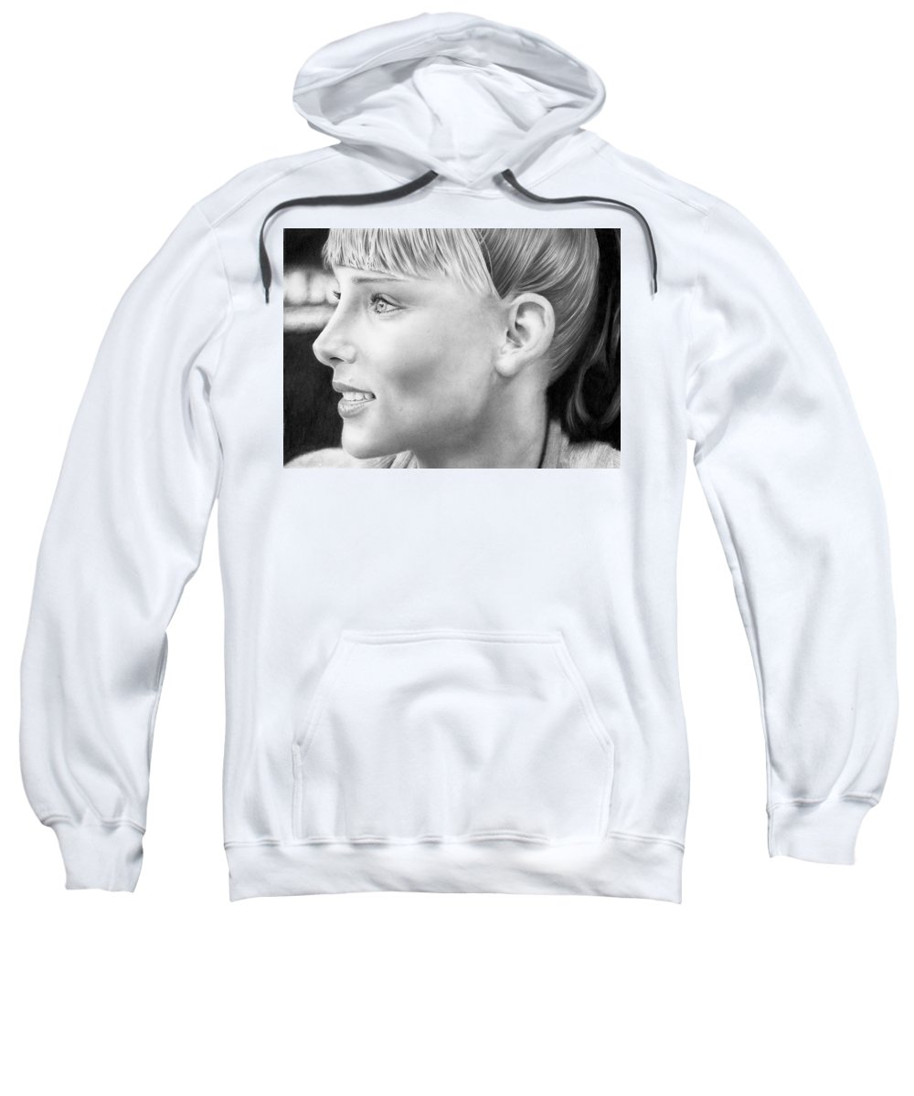 Portrait Sweatshirt featuring the drawing Elsa Pataky by Carl Moore