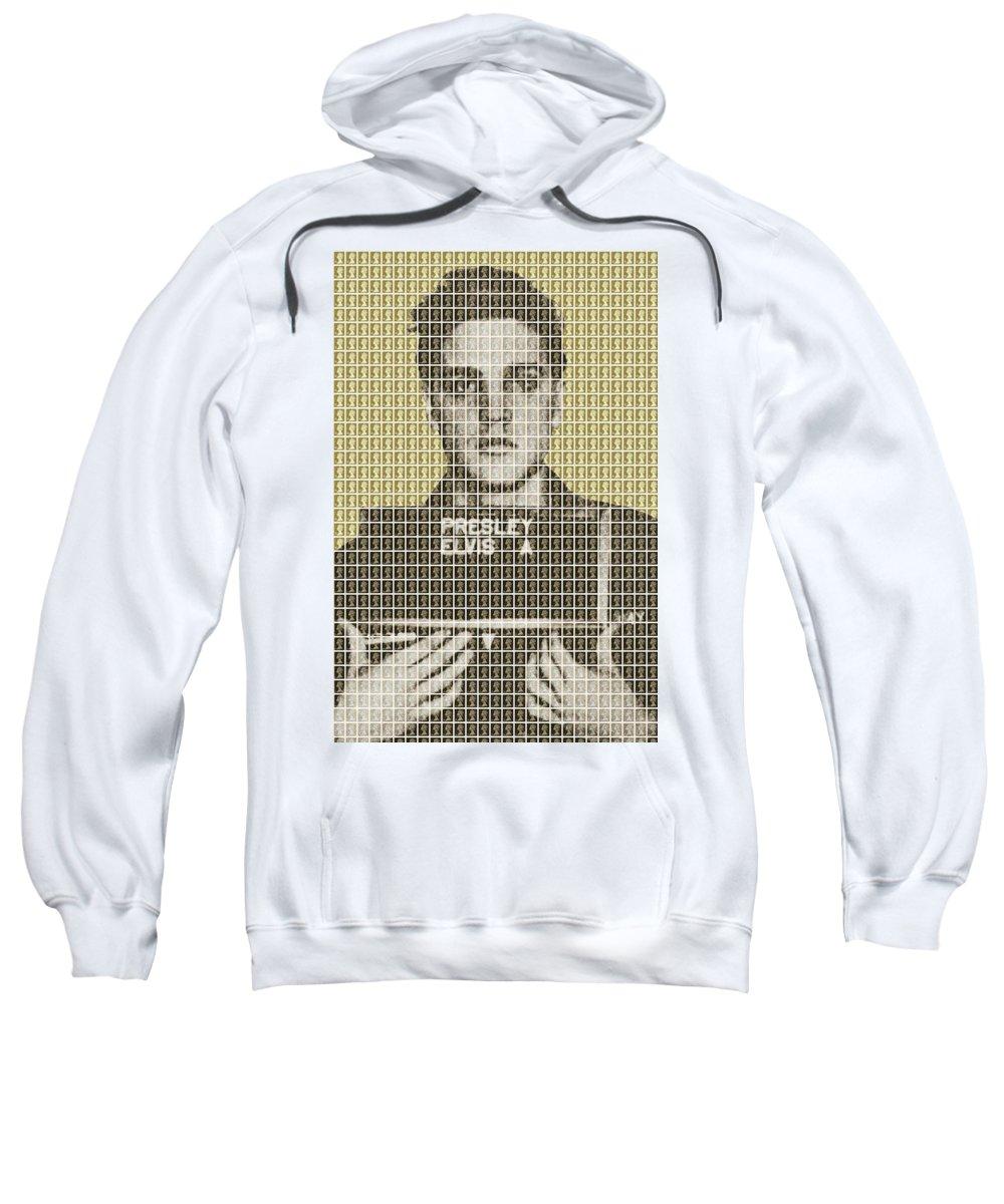 Elvis Sweatshirt featuring the painting Elvis Army Mug Shot - Gold by Gary Hogben