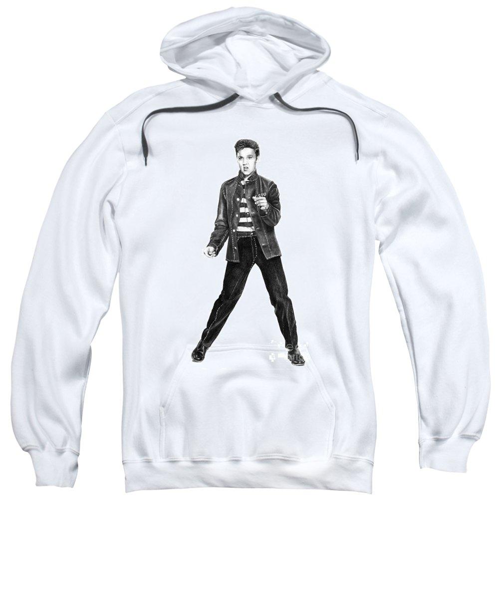 Elvis Sweatshirt featuring the drawing Elvis Presley  by Murphy Elliott