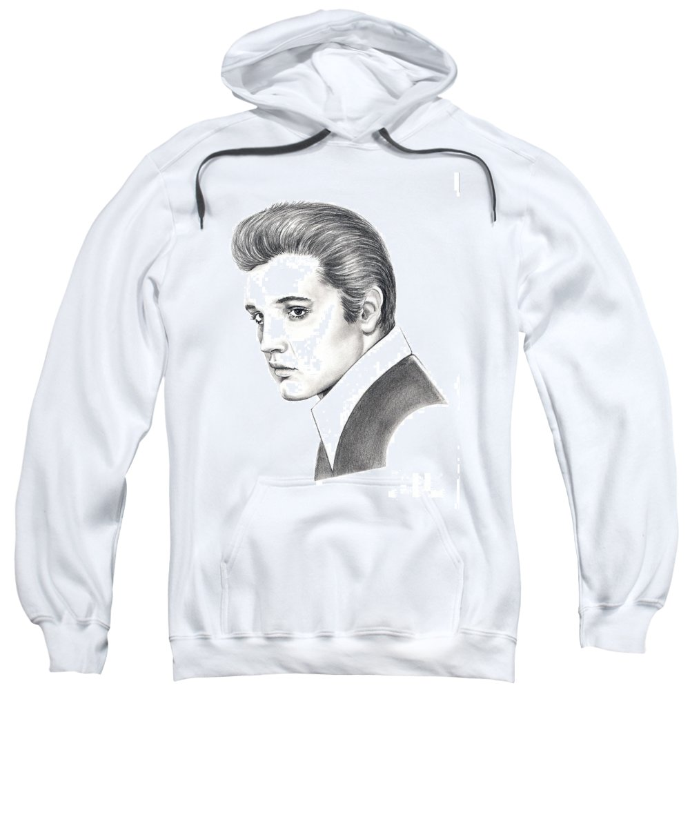 Pencil. Portrait Sweatshirt featuring the drawing Elvis Presley by Murphy Elliott