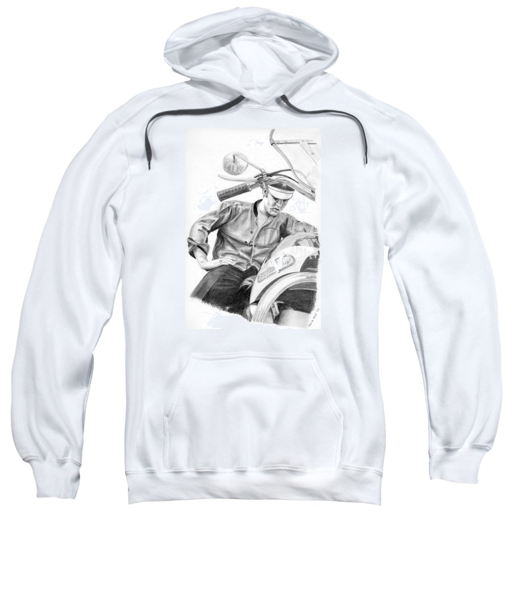 Singer Sweatshirt featuring the drawing Elvis Presley by Rob De Vries