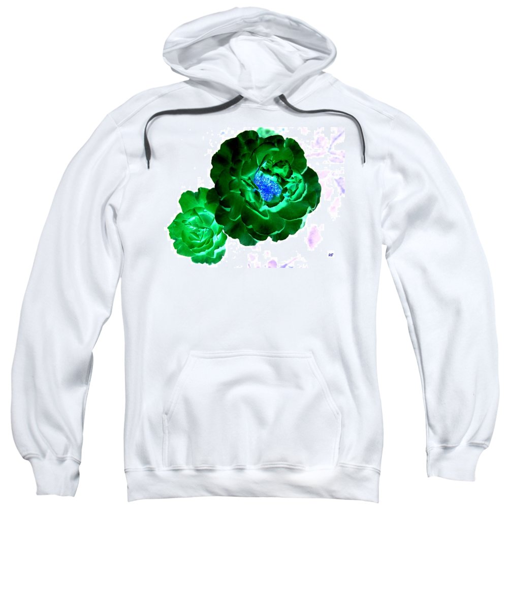 Rose Sweatshirt featuring the digital art Emerald Rose by Will Borden