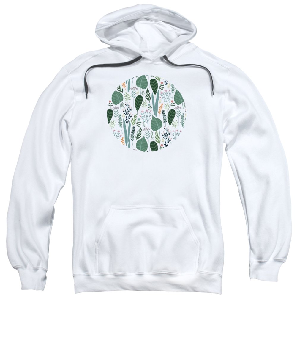 Painting Sweatshirt featuring the painting End Of Winter Spring Thaw Garden Pattern by Little Bunny Sunshine