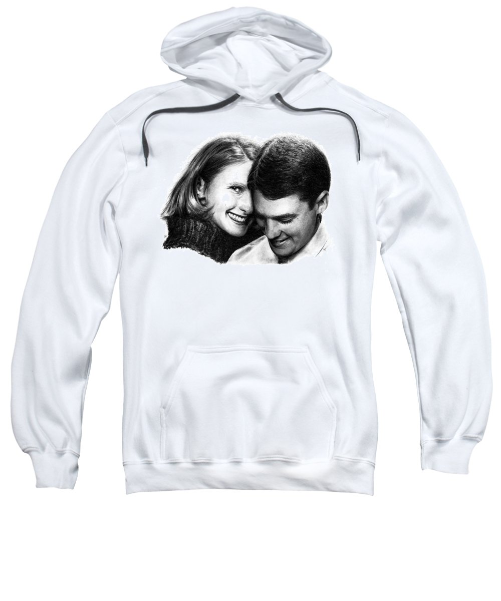 Portrait Sweatshirt featuring the drawing Engaged by Rachel Christine Nowicki