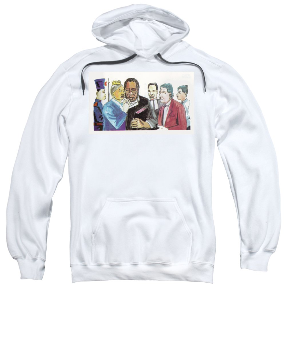 Religion Sweatshirt featuring the painting England Queen With Ajayi Crowther by Emmanuel Baliyanga
