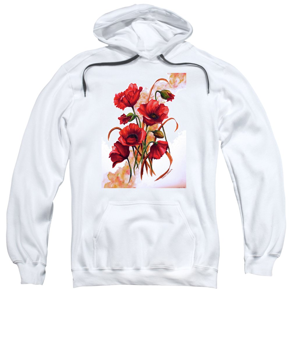 Red Poppies Paintings Floral Paintings Botanical Paintings Flower Paintings Poppy Paintings Field Poppy Painting Greeting Card Paintings Poster Print Painting Canvas Print Painting  Sweatshirt featuring the painting English Poppies 2 by Karin Dawn Kelshall- Best