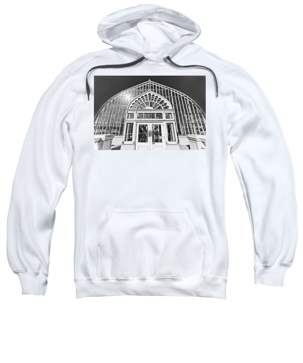 Black And White. Building Sweatshirt featuring the photograph Entering The Greenhouse by Brian Kenney