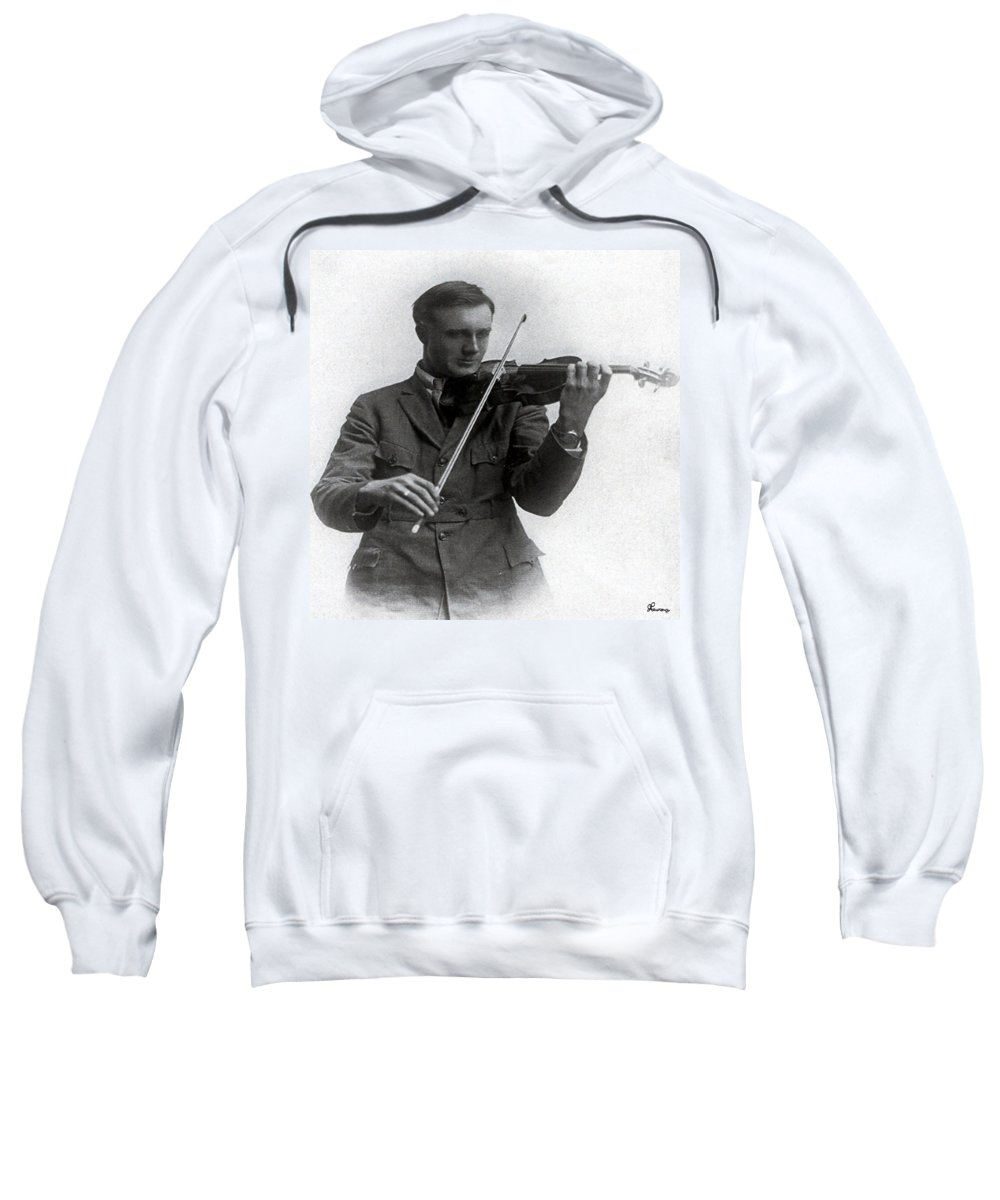 Old Photo Black And White Classic Saskatchewan Pioneers History Fiddle Violin Sweatshirt featuring the photograph Entertainer by Andrea Lawrence