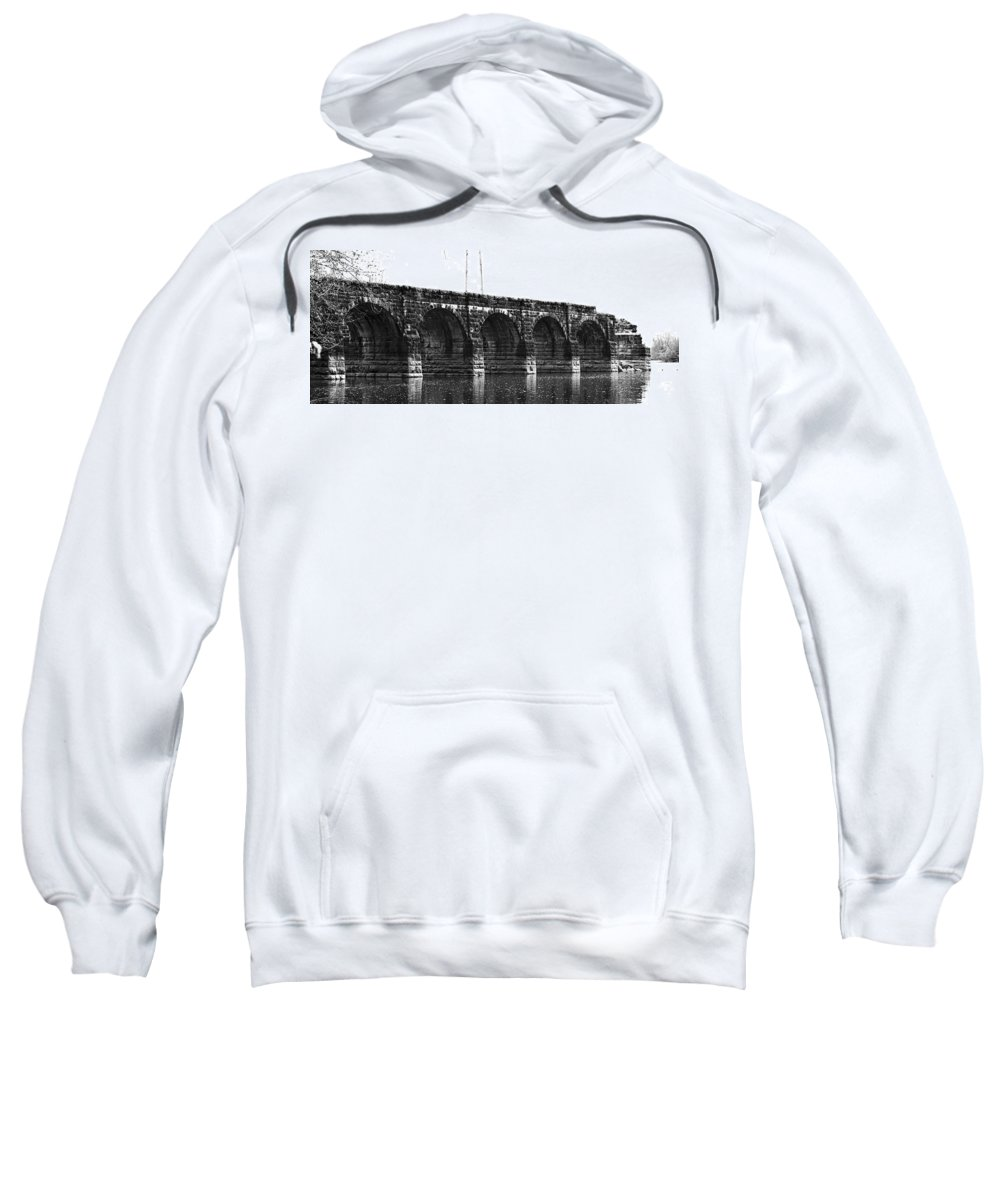 Erie Canal Aqueduct Montezuma New York Black White Sweatshirt featuring the photograph Erie Canal Aqueduct by Justyn Ripley