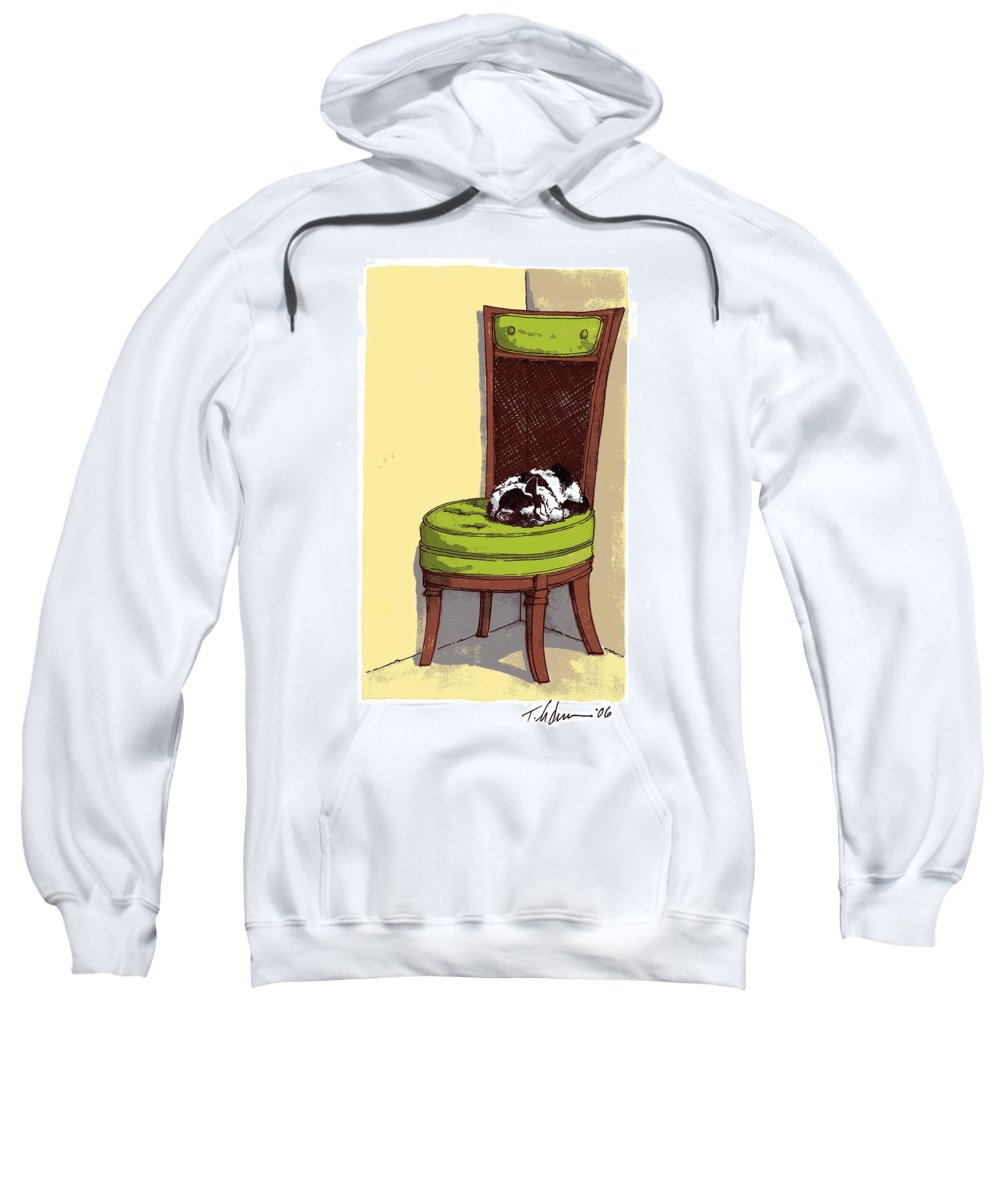 Cat Sweatshirt featuring the drawing Ernie And Green Chair by Tobey Anderson