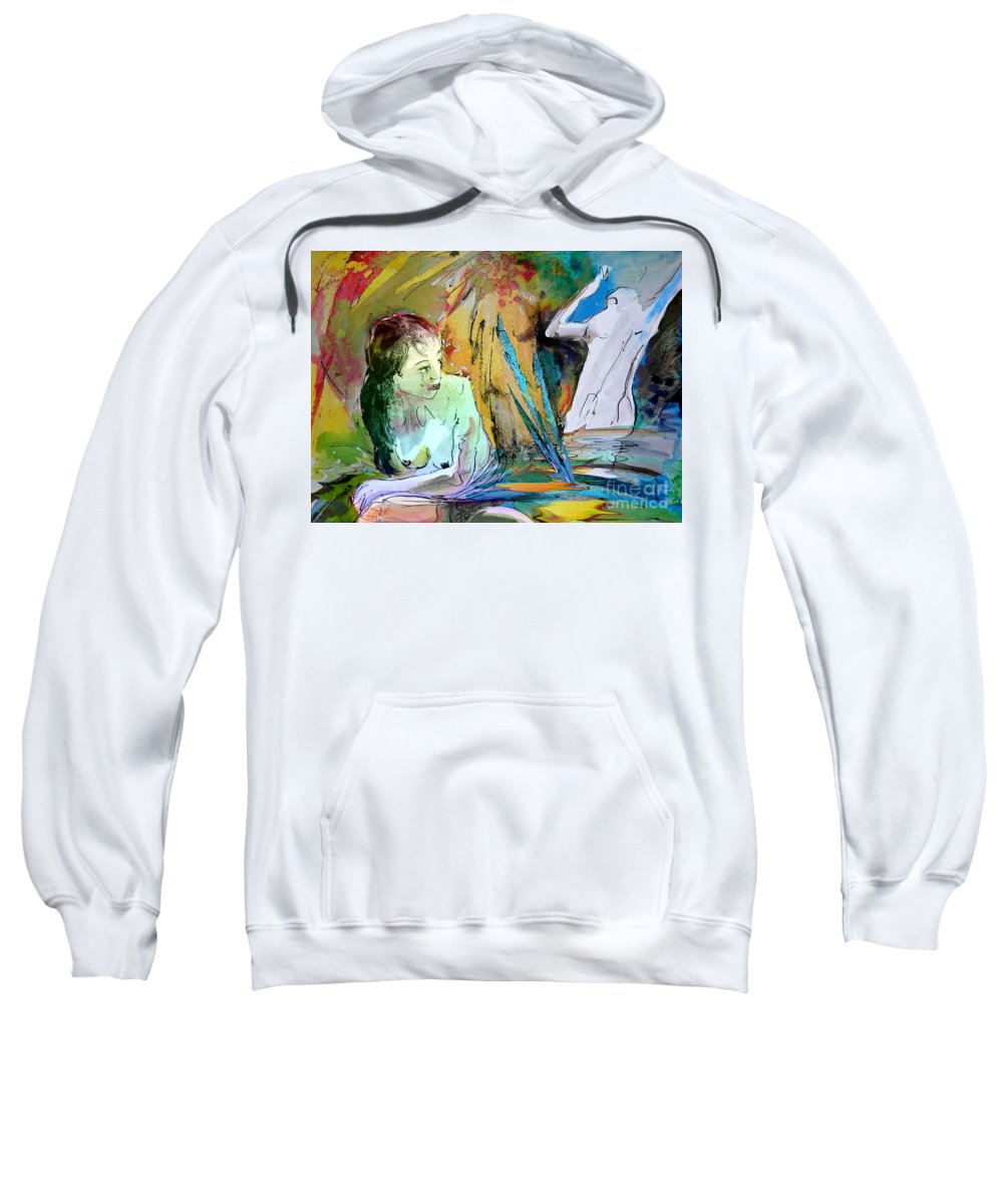Miki Sweatshirt featuring the painting Eroscape 15 1 by Miki De Goodaboom