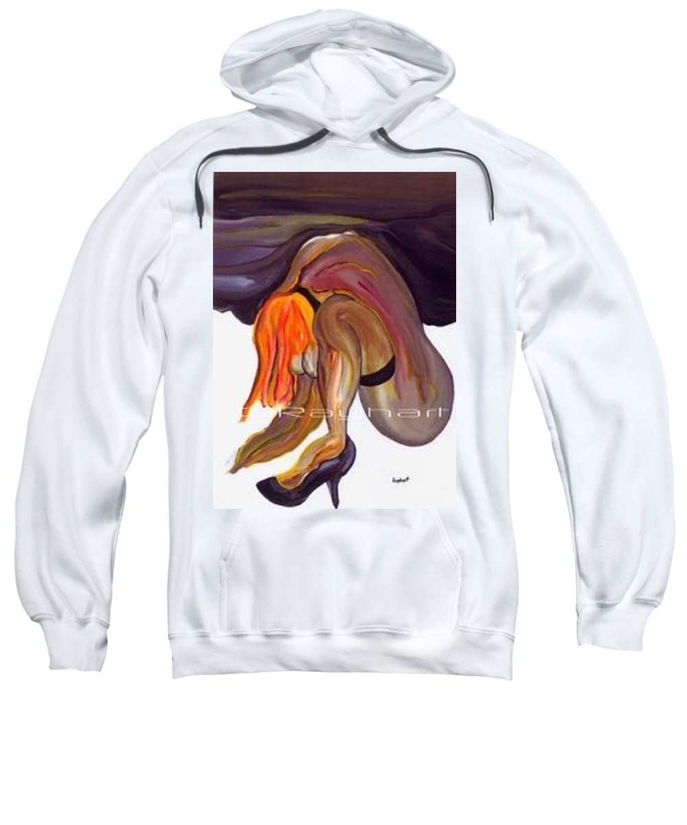 Female Abstract Sweatshirt featuring the painting Erotica - Sold by Artist Rayhart