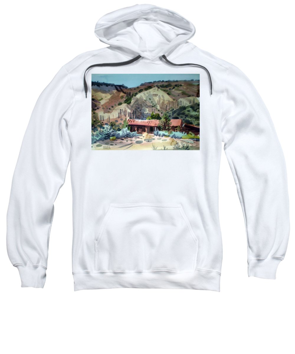 New Mexico Sweatshirt featuring the painting Espanola On The Rio Grande by Donald Maier