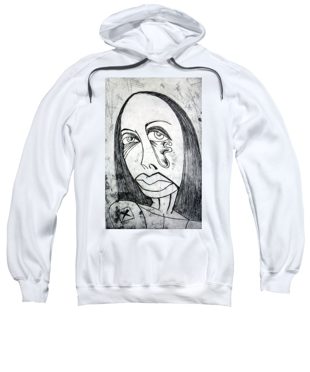 Girl Sweatshirt featuring the print Etching by Thomas Valentine