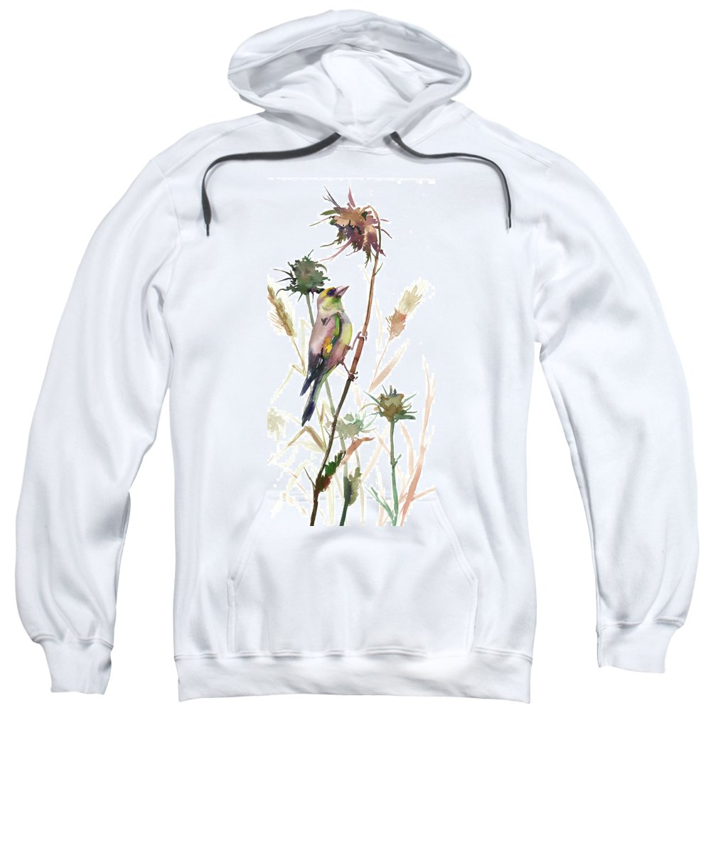 Goldfinch Sweatshirt featuring the painting European Goldfinch In The Field by Suren Nersisyan