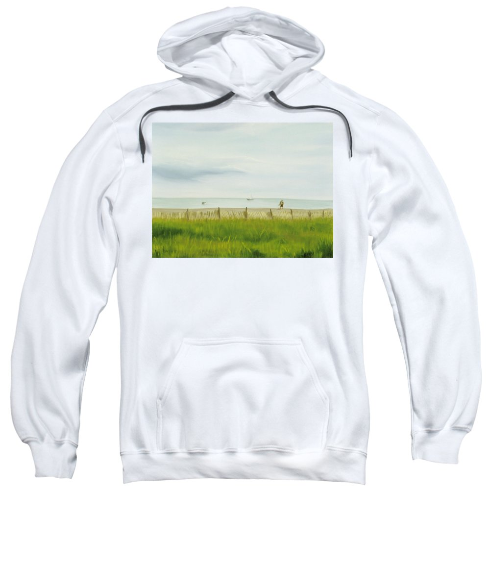 Seascape Sweatshirt featuring the painting Evening At Cape May by Lea Novak