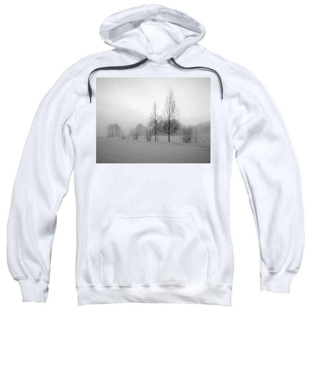 Lehtokukka Sweatshirt featuring the photograph Evening Birches Bw by Jouko Lehto