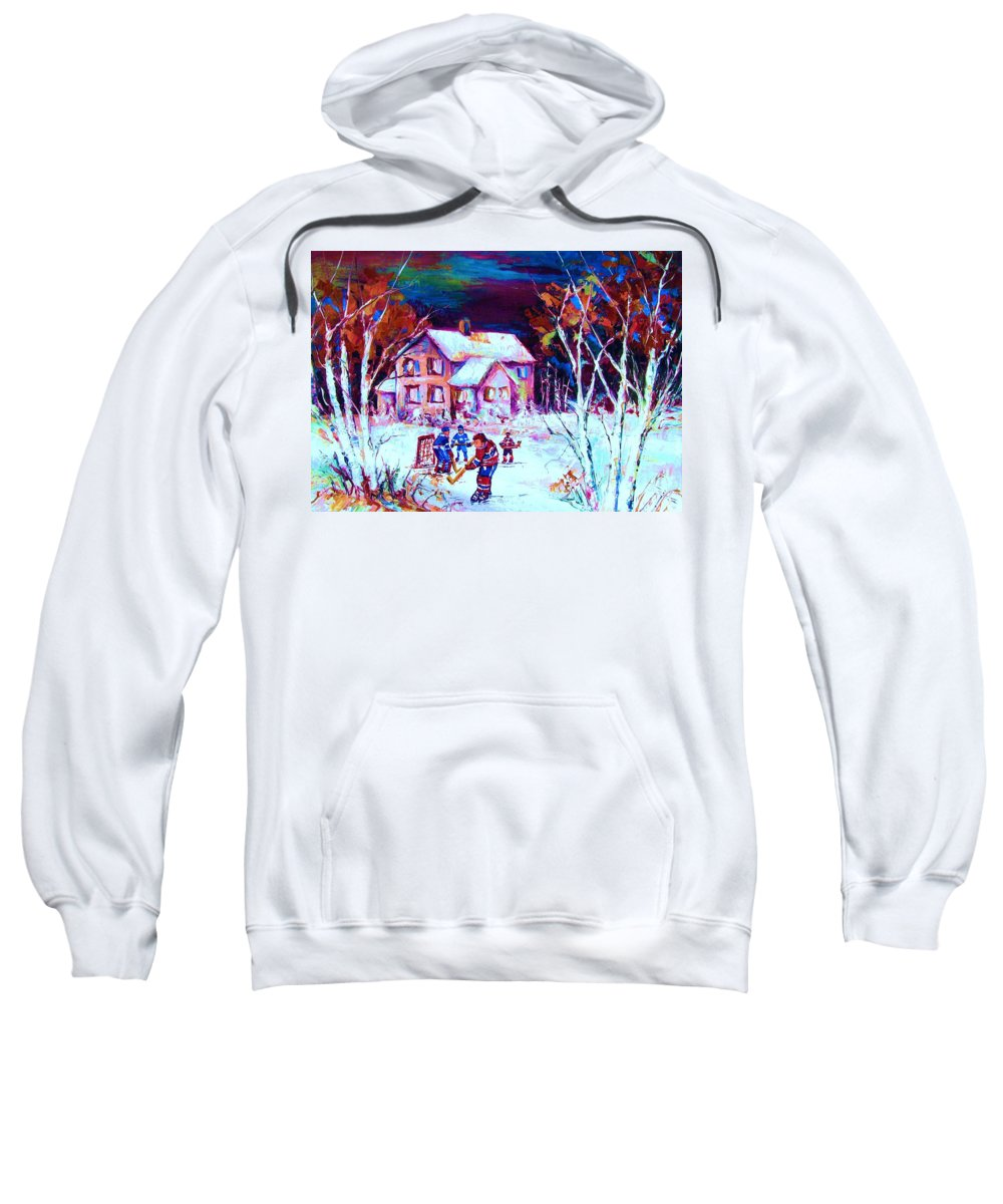 Hockey Game In The Country Sweatshirt featuring the painting Evening Game At The Chalet by Carole Spandau