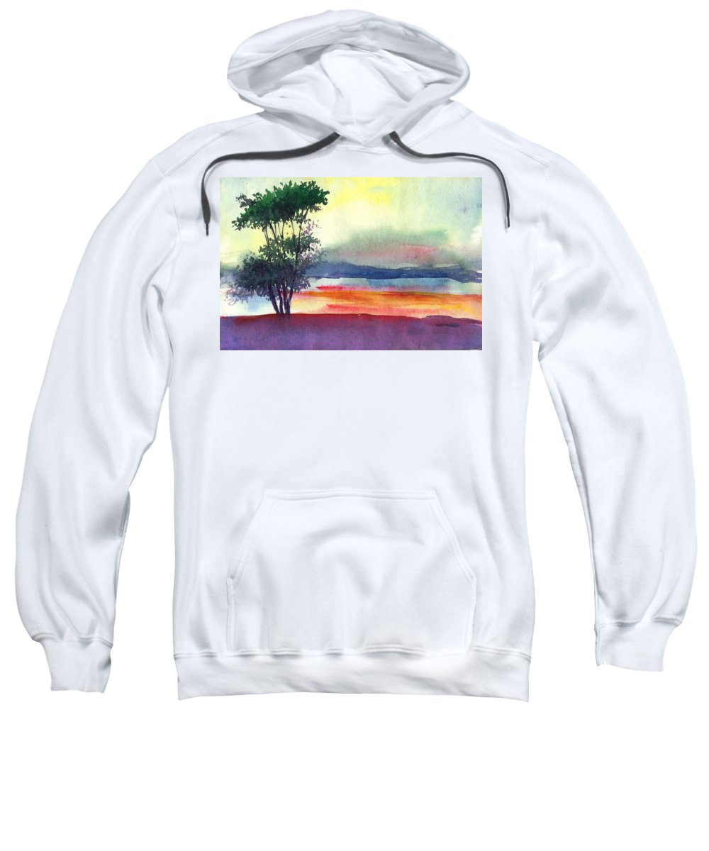 Water Color Sweatshirt featuring the painting Evening Lights by Anil Nene