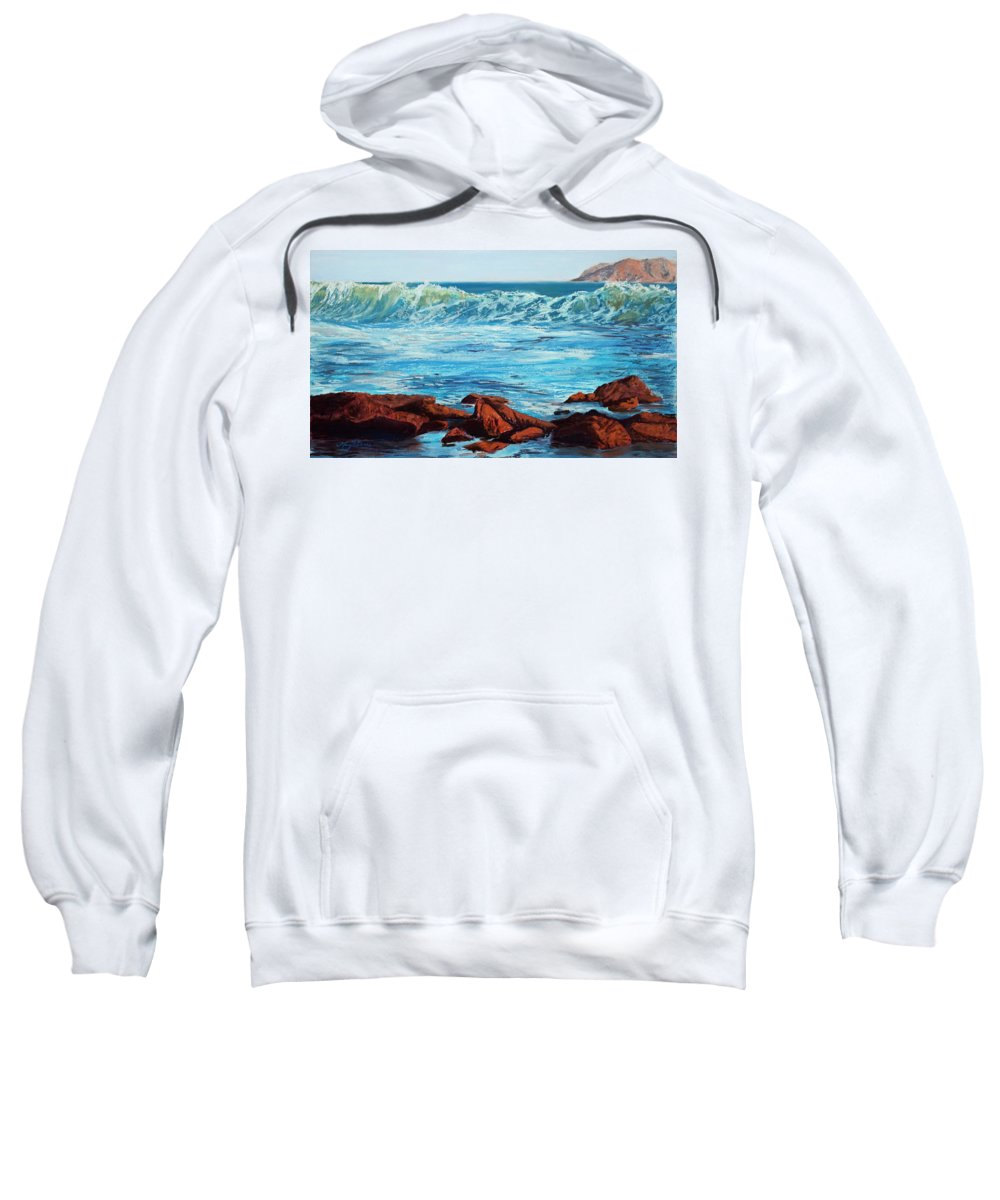 Ocean Sweatshirt featuring the painting Evening Waves by Mary Benke