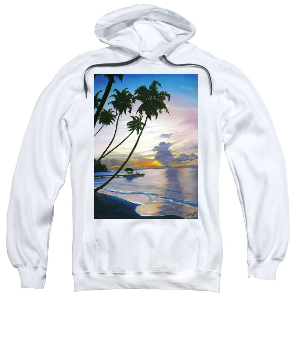 Ocean Painting Seascape Painting Beach Painting Sunset Painting Tropical Painting Tropical Painting Palm Tree Painting Tobago Painting Caribbean Painting Original Oil Of The Sun Setting Over Pigeon Point Tobago Sweatshirt featuring the painting Eventide Tobago by Karin Dawn Kelshall- Best