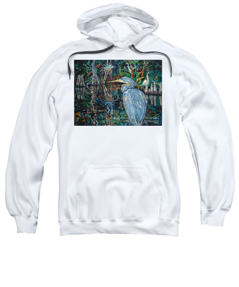 Blue Herron Sweatshirt featuring the painting Everglades by Donald Maier