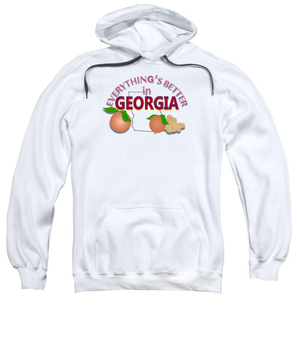Georgia Pride Sweatshirt featuring the digital art Everything's Better in Georgia by Pharris Art