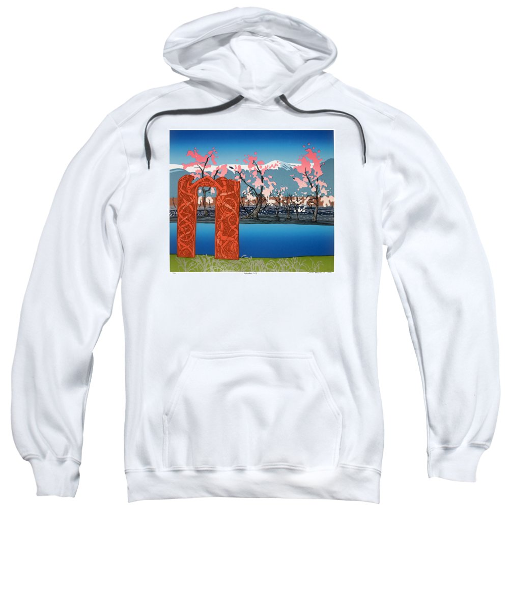 Landscape Sweatshirt featuring the mixed media Exploration. by Jarle Rosseland
