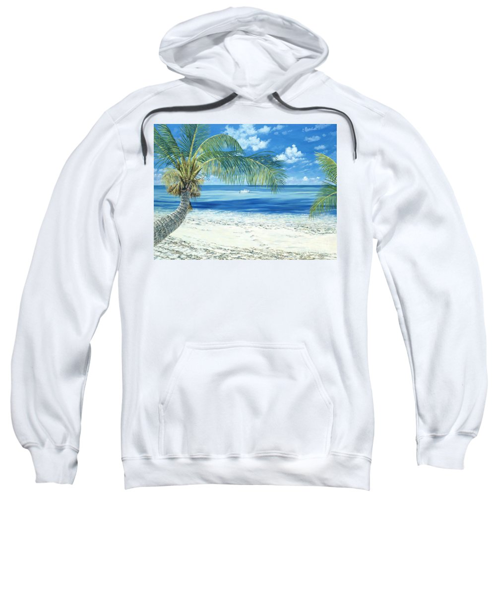 Chub Cay Sweatshirt featuring the painting Exploring The Shallows by Danielle Perry