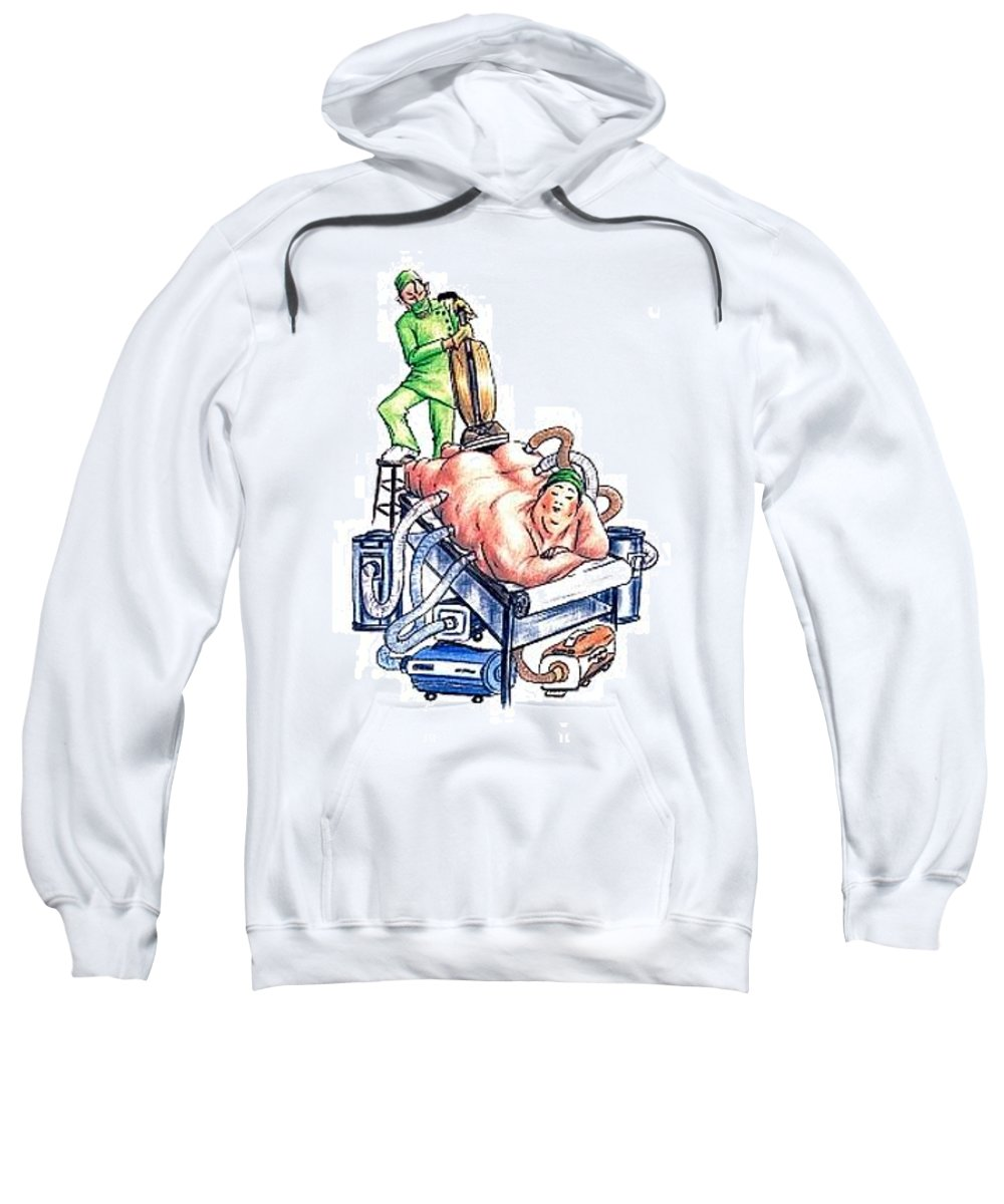 Humor Get Even Sweatshirt featuring the drawing Extreme Lipo by Bruce Lennon