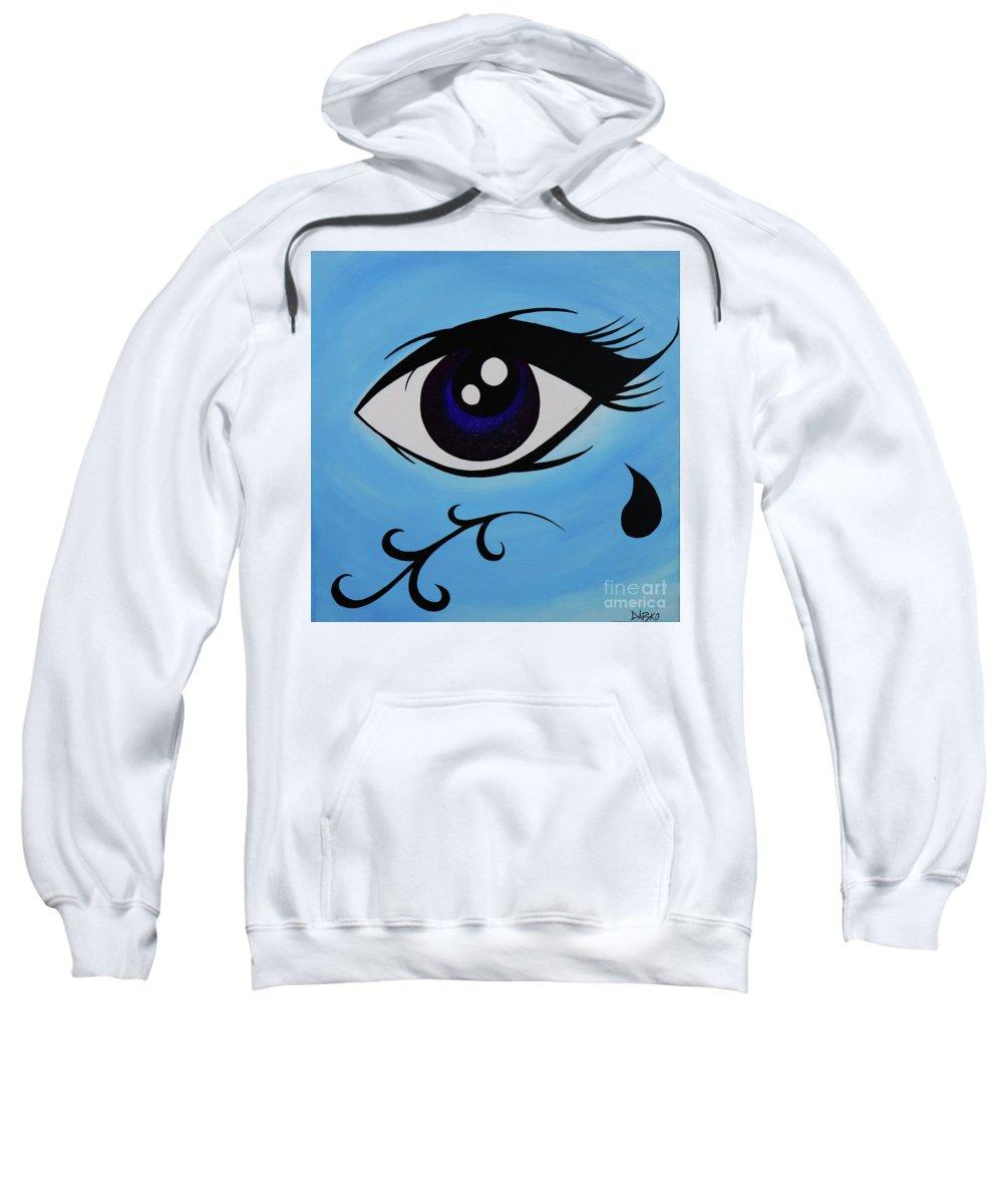 Eye Candy Sugar Skull Tear Drop Sweatshirt featuring the painting Eye Candy by Jonathan Casillas
