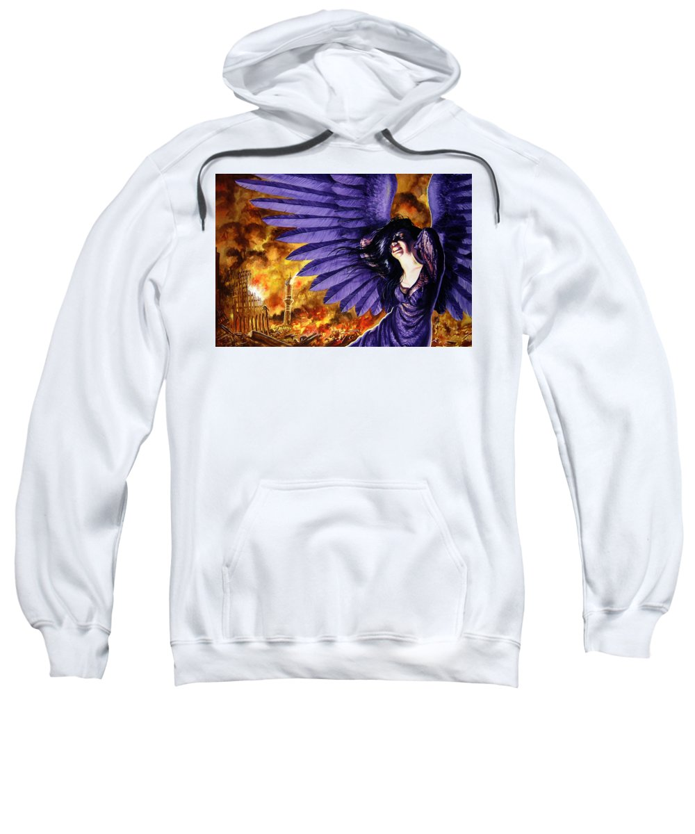 Political Commentary Sweatshirt featuring the painting Eye For An Eye by Ken Meyer