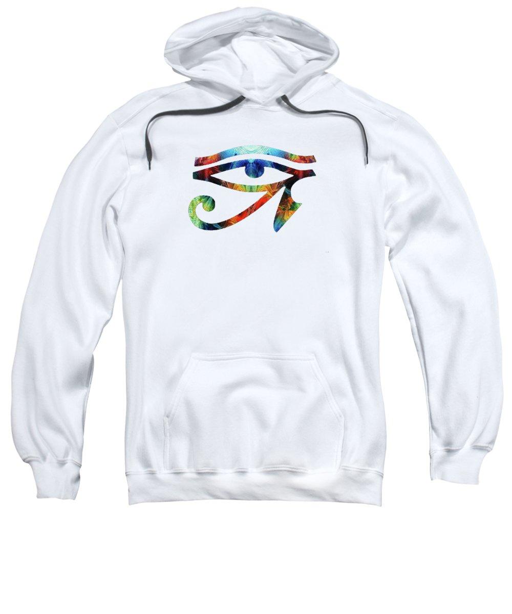 Eye Of Horus Sweatshirt featuring the painting Eye Of Horus - By Sharon Cummings by Sharon Cummings