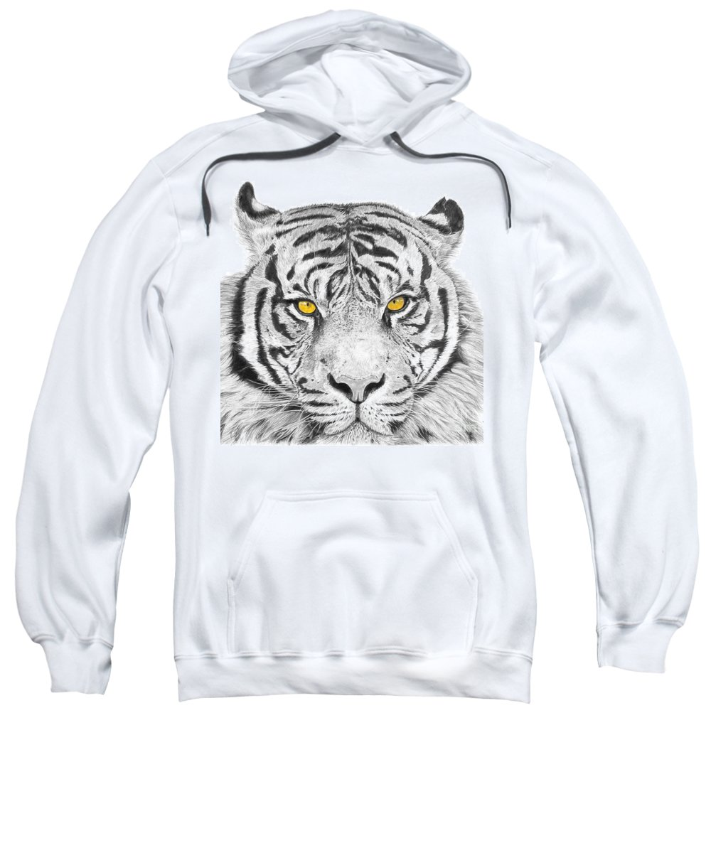 Tiger Sweatshirt featuring the drawing Eyes Of The Tiger by Shawn Stallings