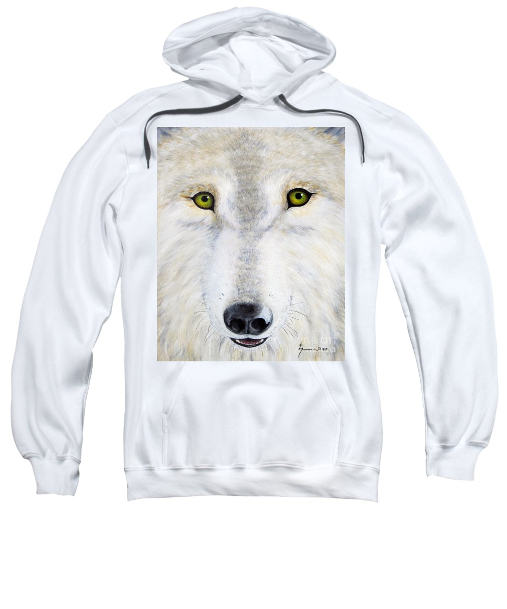 Wolf Sweatshirt featuring the painting Eyes Of The Wolf by Jerome Stumphauzer