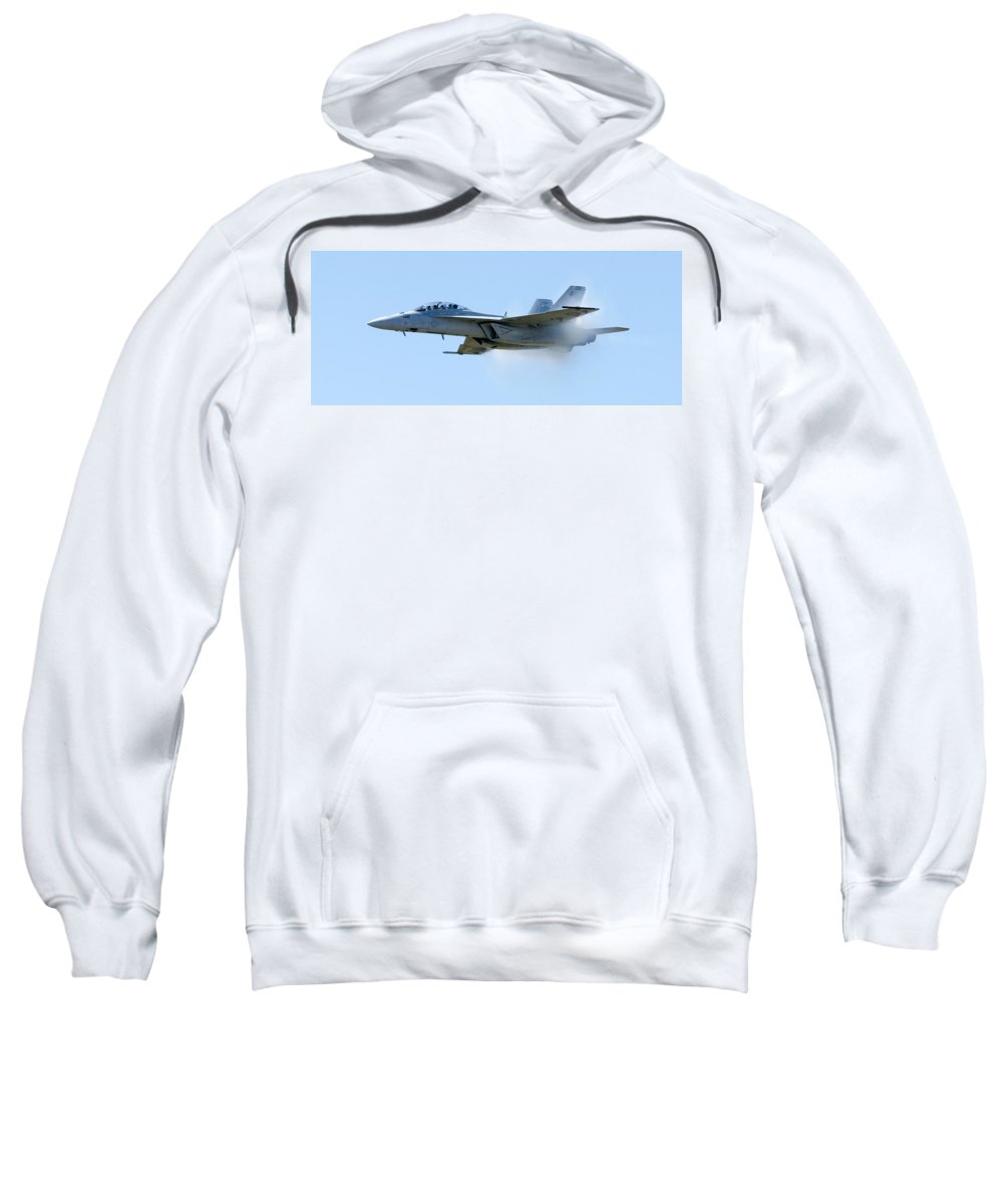 F18 Sweatshirt featuring the photograph F18 - Barrier by Greg Fortier