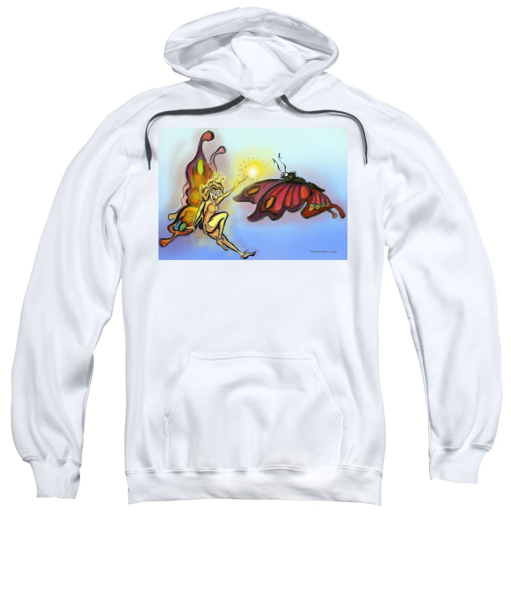Faerie Sweatshirt featuring the painting Faerie N Butterfly by Kevin Middleton