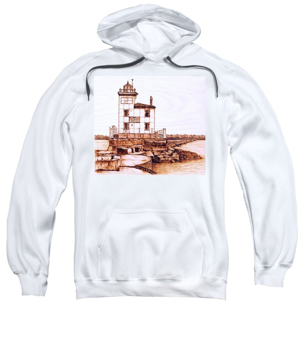 Lighthouse Sweatshirt featuring the pyrography Fair Port Harbor by Danette Smith