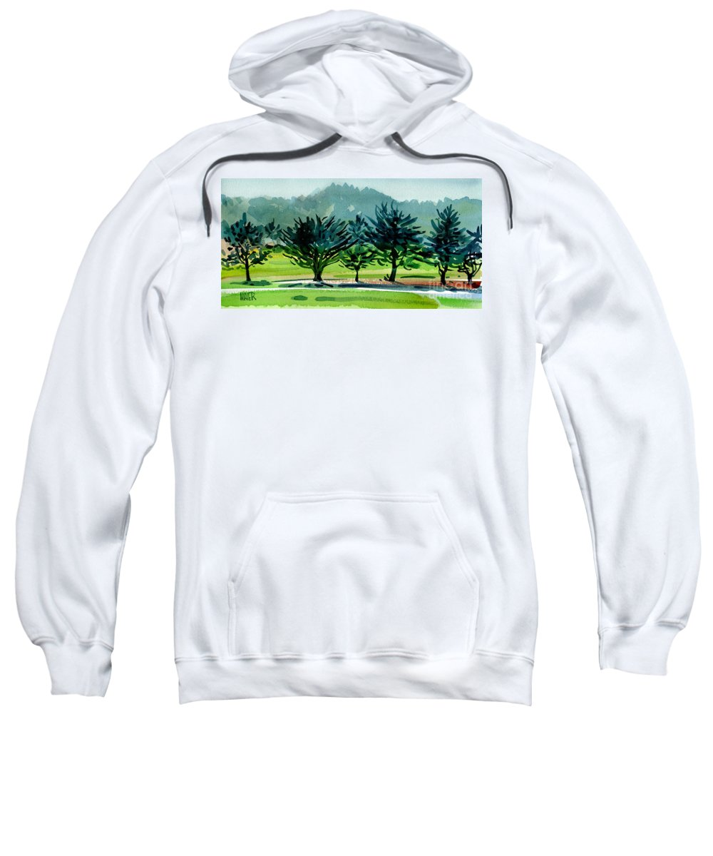Crystal Springs Sweatshirt featuring the painting Fairway Junipers by Donald Maier