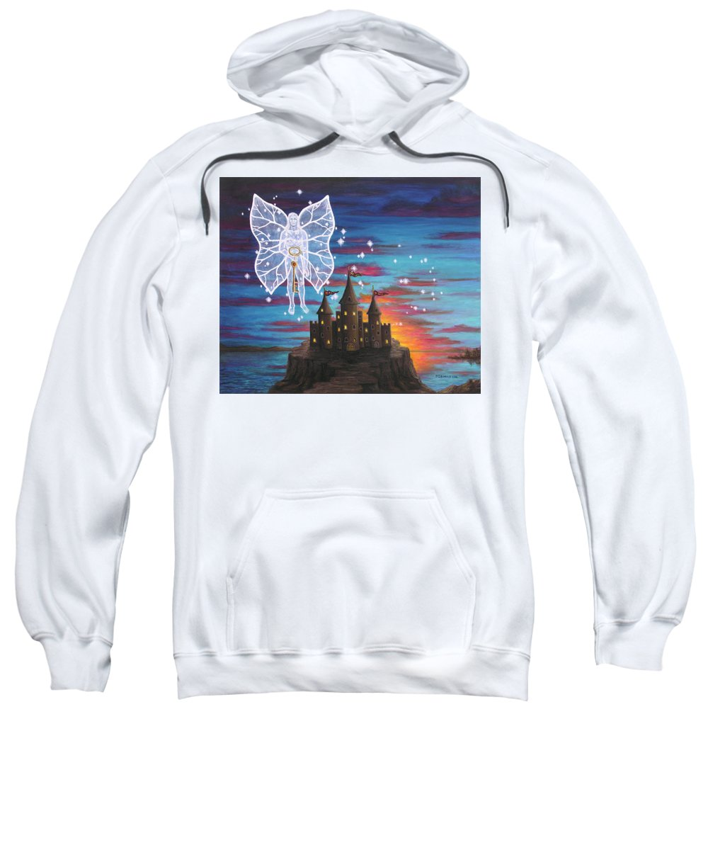 Fantasy Sweatshirt featuring the painting Fairy Takes The Key by Roz Eve