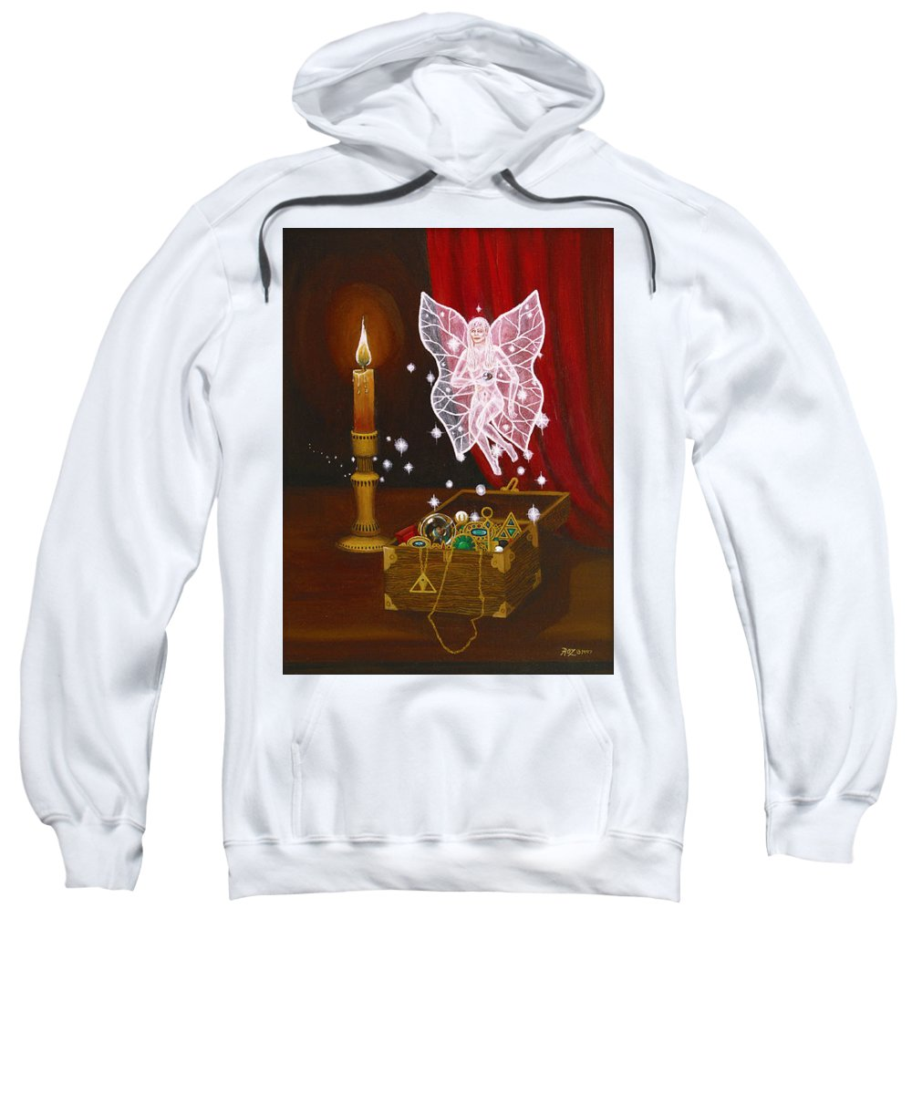 Fairy Sweatshirt featuring the painting Fairy Treasure by Roz Eve